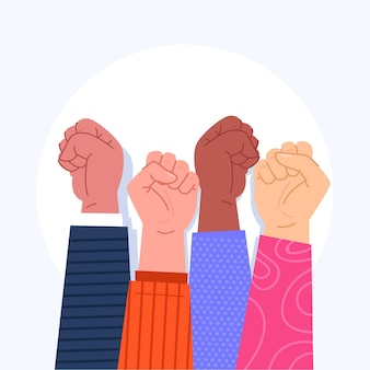 Illustrated multiracial raised fists