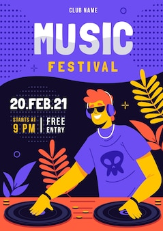 Illustrated music festival flyer template