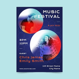 Illustrated music festival poster template