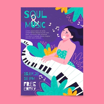 Illustrated music poster with girl playing a piano