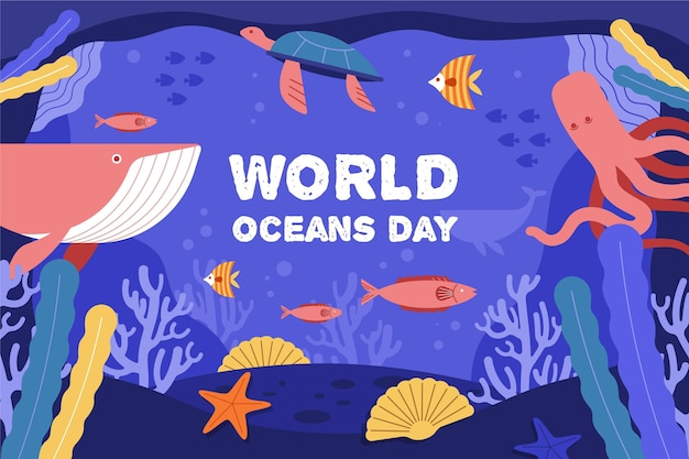Illustrated oceans day background