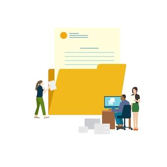 Illustrated office worker sending e-mail