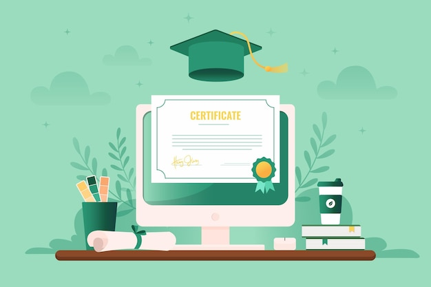 Illustrated online certification on computer screen