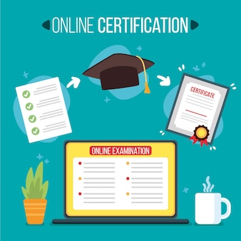 Illustrated online certification concept
