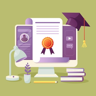 Illustrated online certification on screen