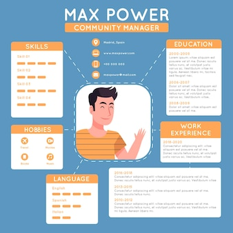 Illustrated online cv with details