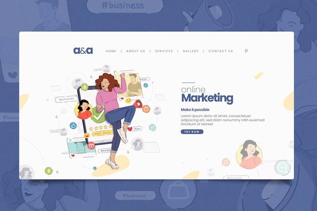 Иллюстрированный шаблон домашней страницы интернет-маркетинга