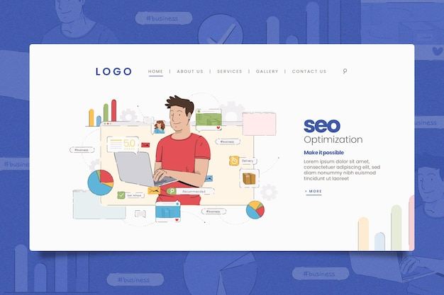 Illustrated online marketing landing page template