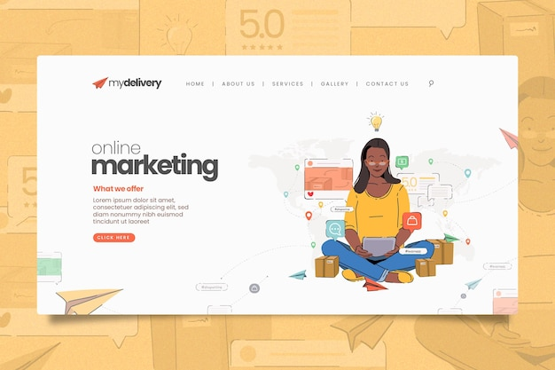 Illustrated online marketing landing page