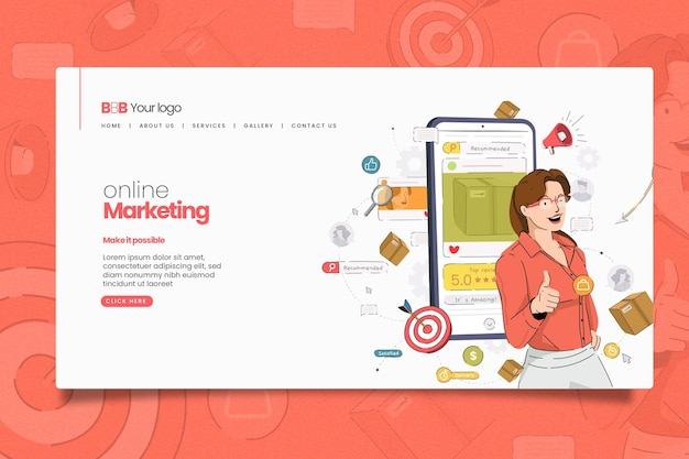 Illustrated online marketing web page