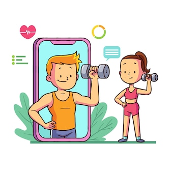 Personal trainer online illustrato
