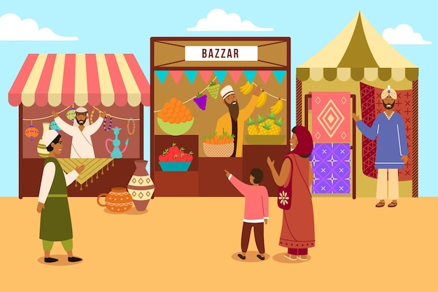 Illustrated oriental arab bazaar