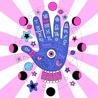 Illustrated palmistry concept