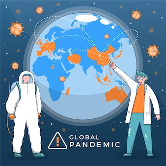 Illustrated pandemic time concept