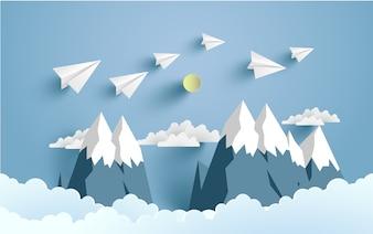Illustrated paper plane for background, poster or wallpaper. paper art design