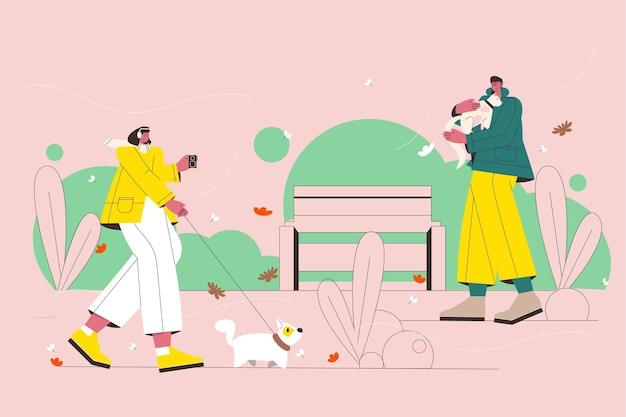 Illustrated people in autumn scene