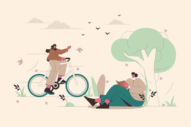 Illustrated people in autumn scene Free Vector