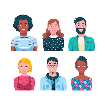 Illustrated people avatars concept