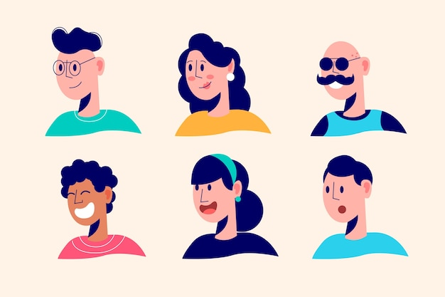 Illustrated people avatars design
