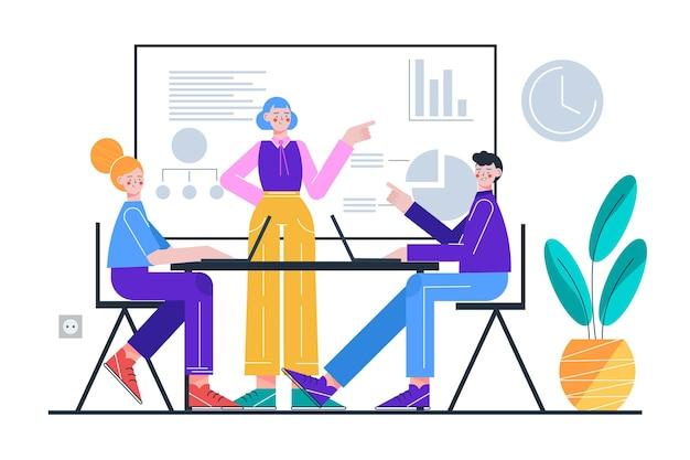 Illustrated people on business training