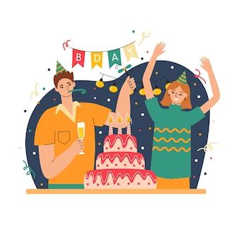 誕生日パーティーで祝うイラスト入りの人々