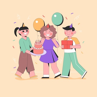 Illustrated people celebrating at a birthday party