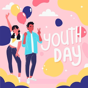 Illustrated people celebrating youth day