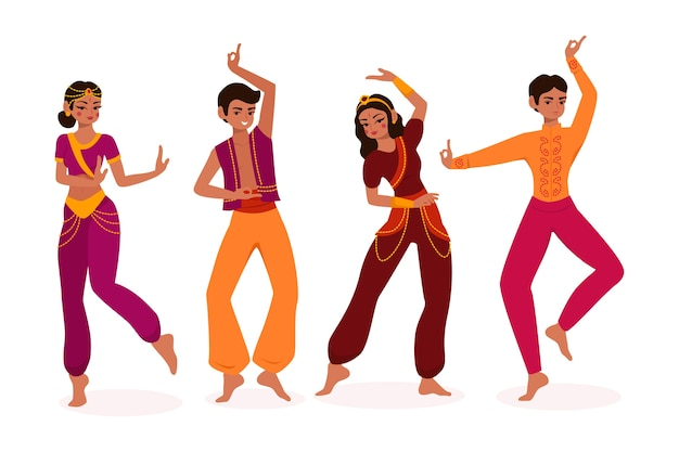 Illustrated people dancing bollywood concept