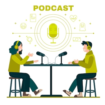Illustrated people doing a podcast