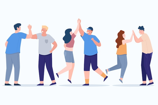 Illustrated people giving high five