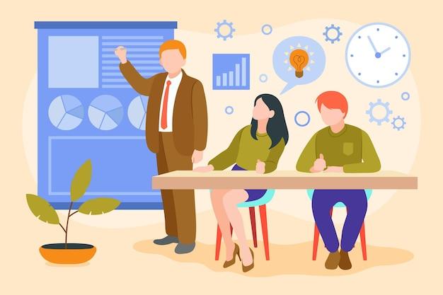 Иллюстрированные люди на бизнес-тренингах