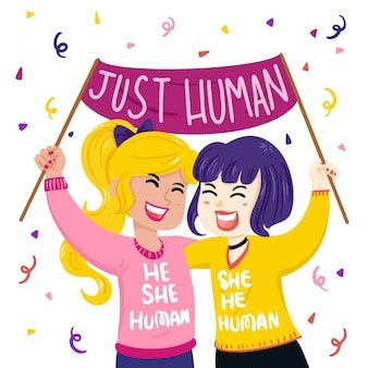 Illustrated people participating at gender neutral movement