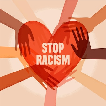Illustrated people participating in the stop racism movement