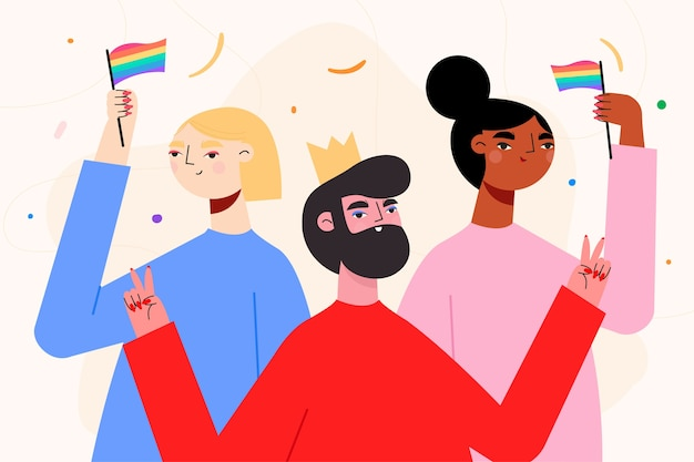 Illustrated people on pride day celebrating