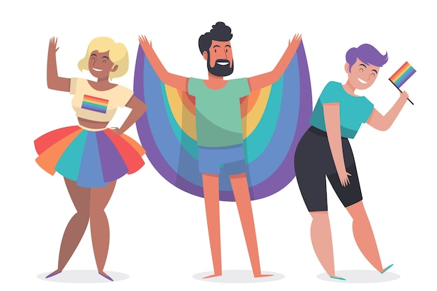 Illustrated people on pride day design