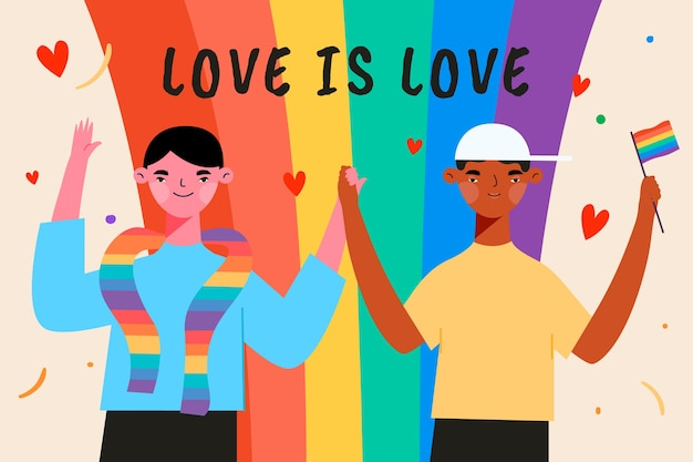 Illustrated people on pride day event