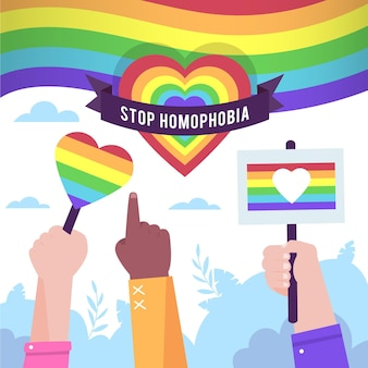 Illustrated people protesting against homophobic concept