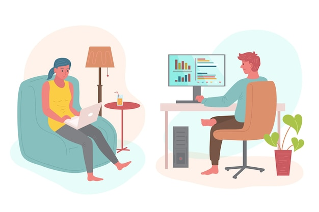 Illustrated people remote working
