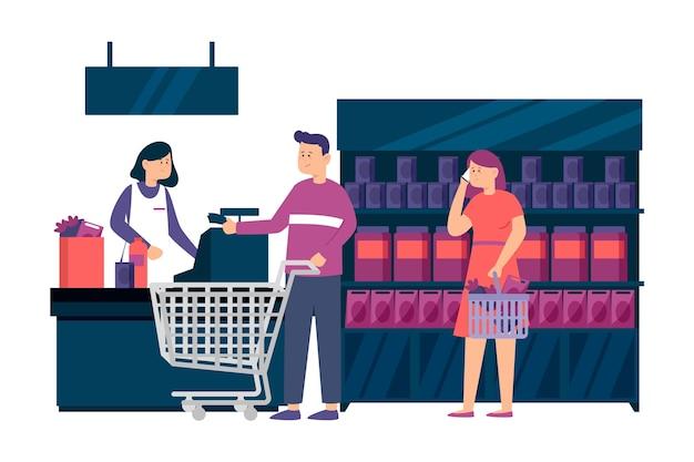 Иллюстрированные люди покупают продукты