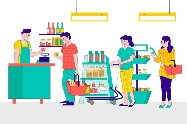 Illustrated people shopping for groceries