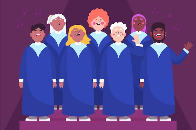Illustrated people singing in a gospel choir