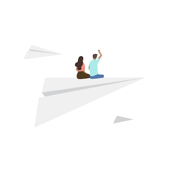 Illustrated people sitting on paper plane
