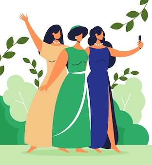 Illustrated people taking photos with smartphone