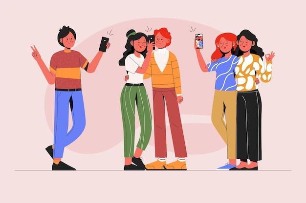 스마트 폰으로 사진을 찍는 그림 된 사람들