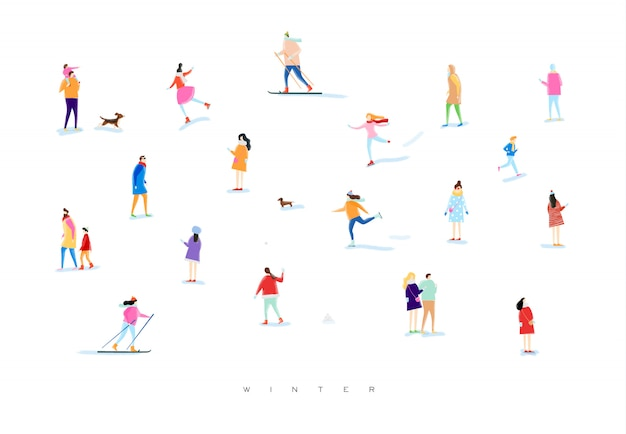 Illustrated people on a winter walk