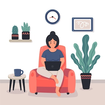 Illustrated people working remotely