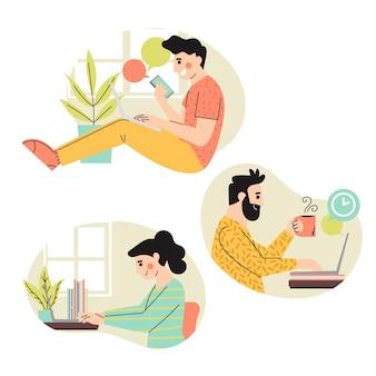 Persone illustrate che lavorano a distanza