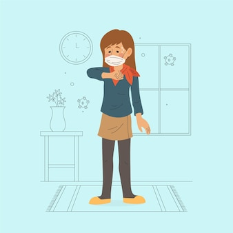Illustrated person coughing on elbow indoors