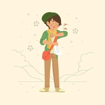 Persona illustrata che tossisce sul gomito