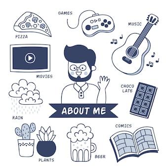 Иллюстрированный человек с хобби и интересами